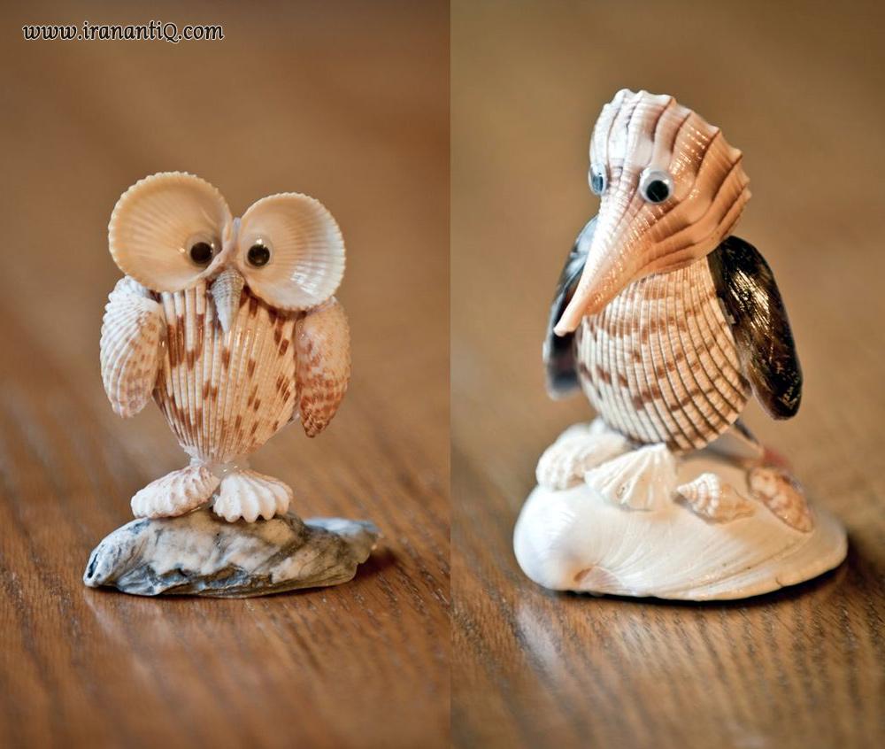 مجسمه های حیوانات ساخته شده از صدف و گوشماهی