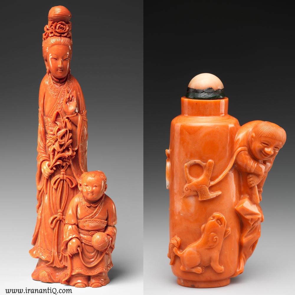 مجسمه هایی ساخته شده از مرجان ، چین ، مربوط به سلسله چینگ ، محل نگهداری : موزه متروپولیتن