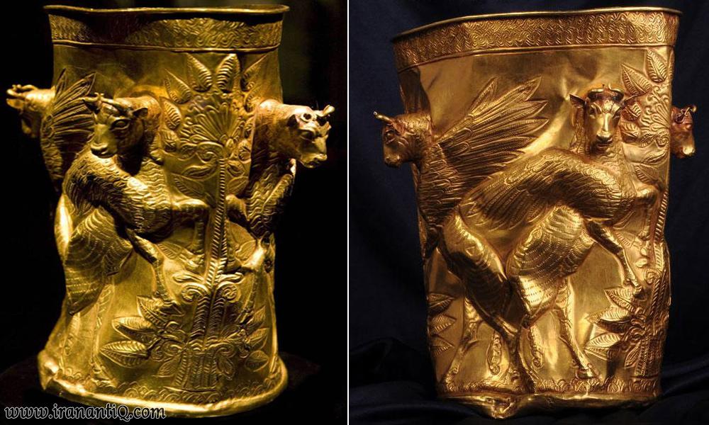 جام زرین کشف شده از تپه های مارلیک شمال ایران ، متعلق به 3000 سال پیش
