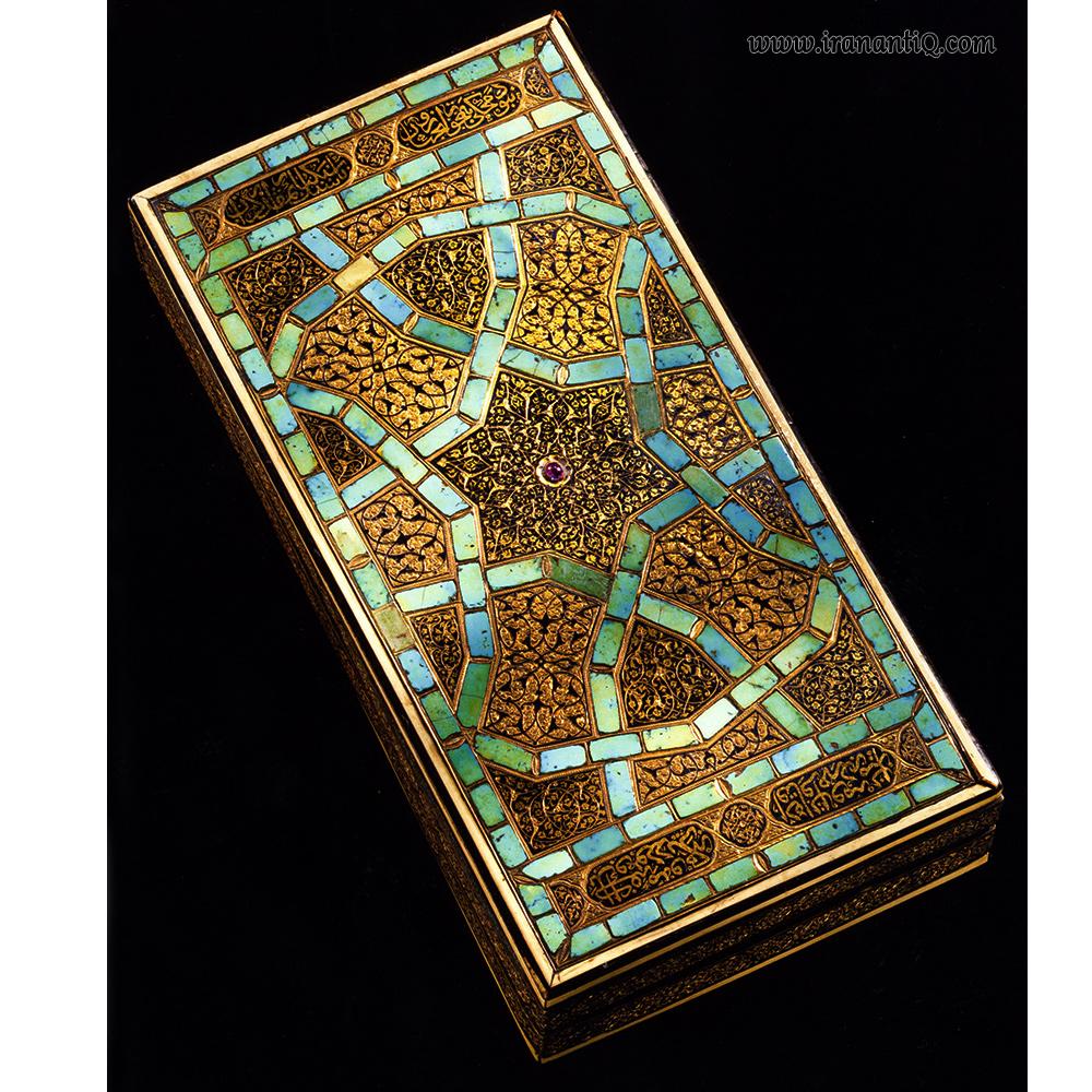 جعبه مزین به فیروزه ، یاقوت و عاج ، دوره صفوی