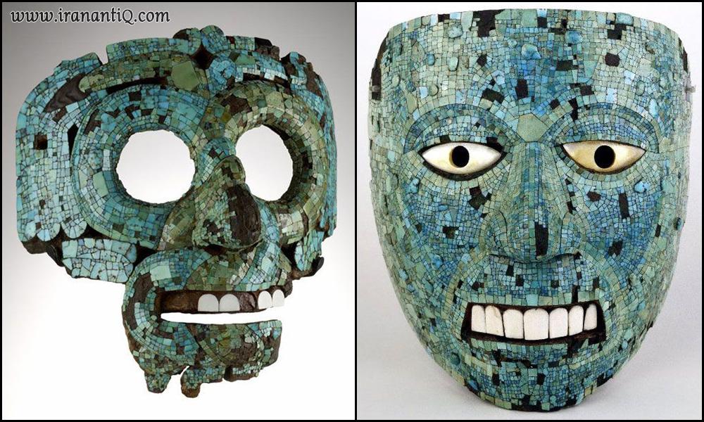 ماسک موزائیک کاری فیروزه ، قوم مایا یا آزتک / ماسک موزائیک کاری فیروزه ، مکزیک ، 15 - 16 میلادی