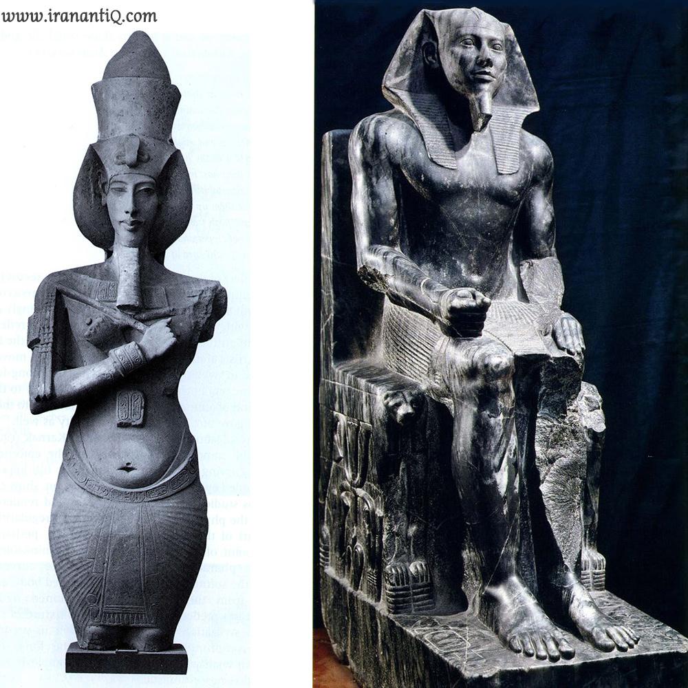 پیکره خفرن ( فرعون مصر ) - حدود 4600 سال پیش   /  آخناتون ، بلندی تقریبا 4 متر - موزه مصر ، قاهره.