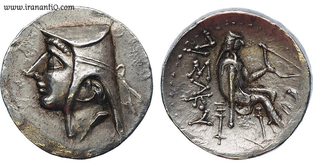 parthian hat basloq bashlyk on coins ، کلاه باشلق دوره پارتیان روی سکه
