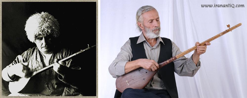 استاد محمدرضا اسحاقی (تصویر سمت راست) و استاد قلیچ انوری (تصویر سمت چپ) ، از نوازندگان برجسته دوتار
