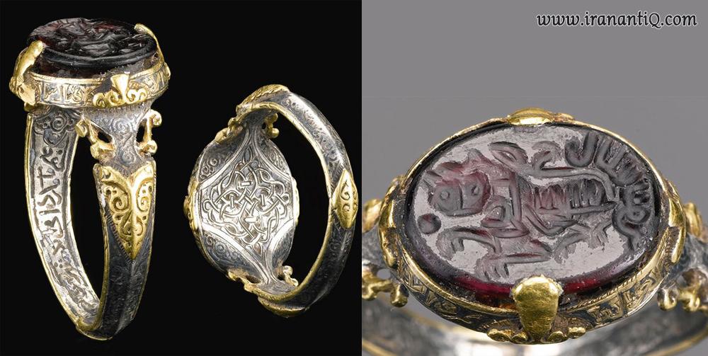 انگشتری مُهر با نام علی ابن یوسف ، شیر حکاکی شده نشان از حضرت علی می باشد ، ایران ، مربوط به سلجوقیان