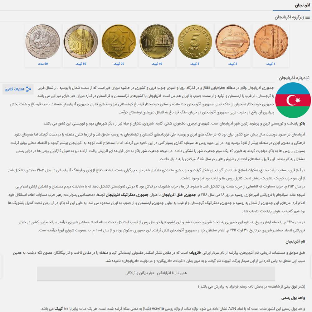قیمت سکه های کشور آذربایجان