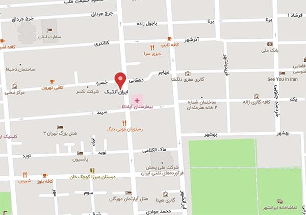 کروکی ایران آنتیک روی نقشه