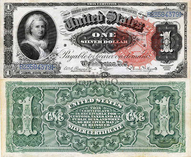 1 دلار گواهی نقره - مارتا واشنگتن
