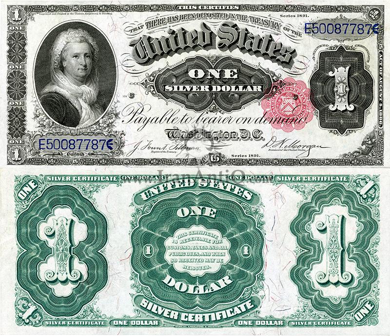 1 دلار گواهی نقره - مارتا واشنگتن - تیپ دو