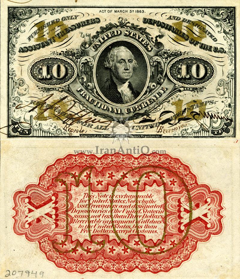 10 سنت سری فراکسیونال - جورج واشنگتن - تیپ دو
