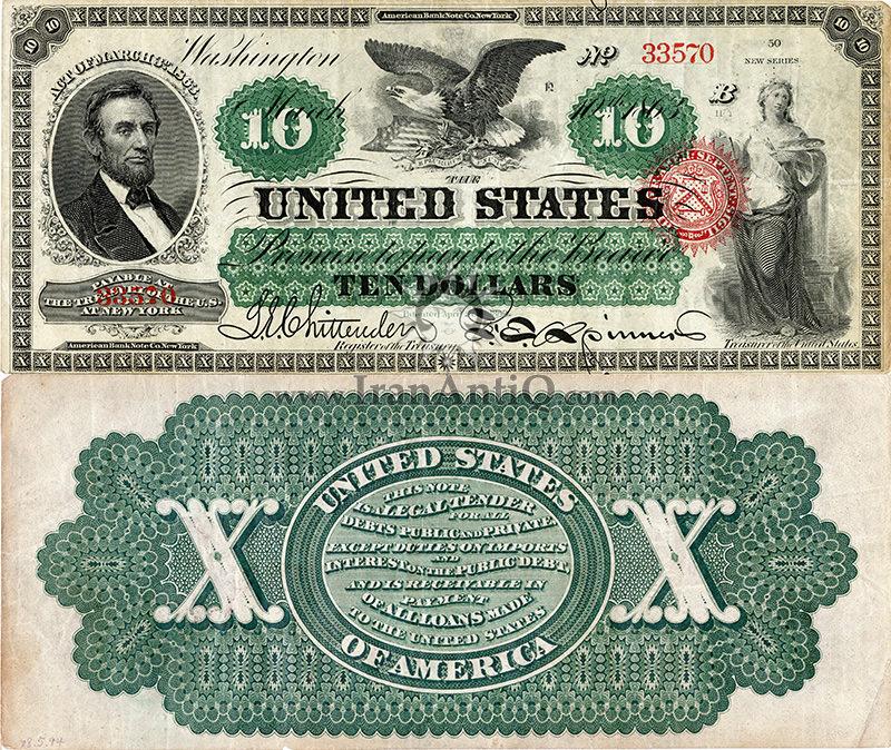 10 دلار سری رایج - آبراهام لینکلن - تیپ دو