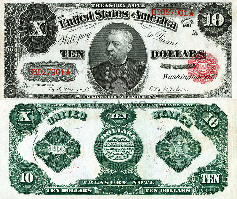 10 دلار سری رایج خزانه داری - فیلیپ شرایدن - تیپ دو