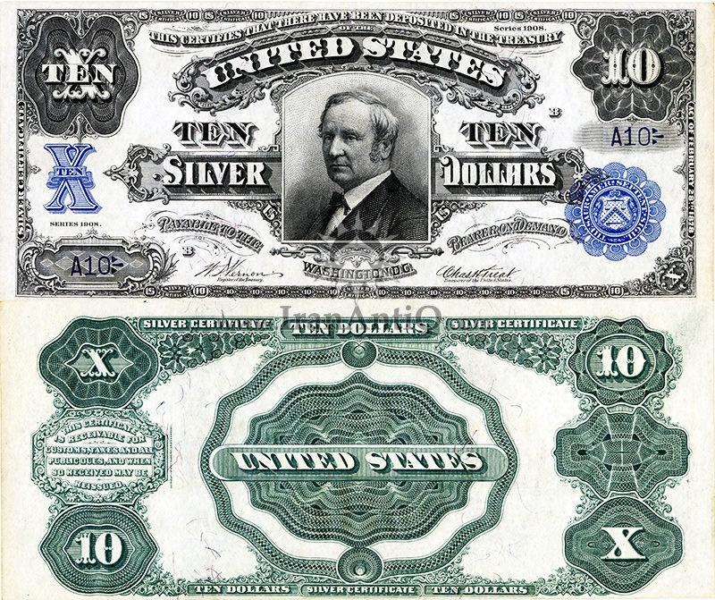 10 دلار سری گواهی نقره - توماس ای. هندریکس - تیپ دو