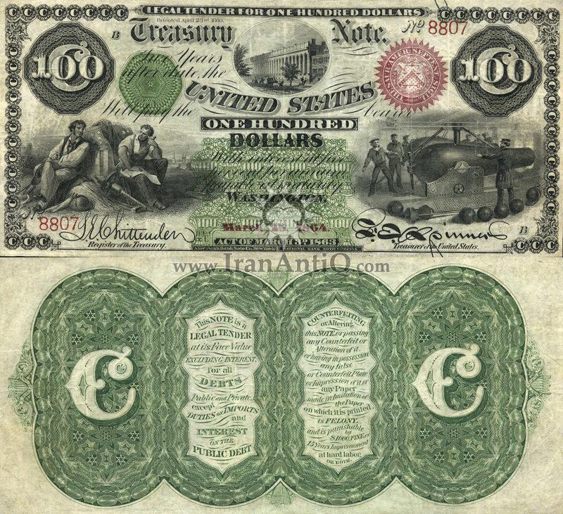 100 دلار سری رایج خزانه داری - پشت سبز