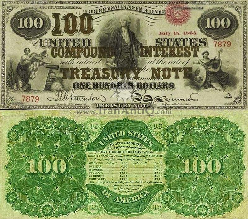 100 دلار سری رایج خزانه داری با بهره مرکب - جورج واشنگتن