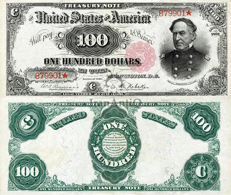 100 دلار سری رایج خزانه داری - دیوید فارگوت - تیپ دو