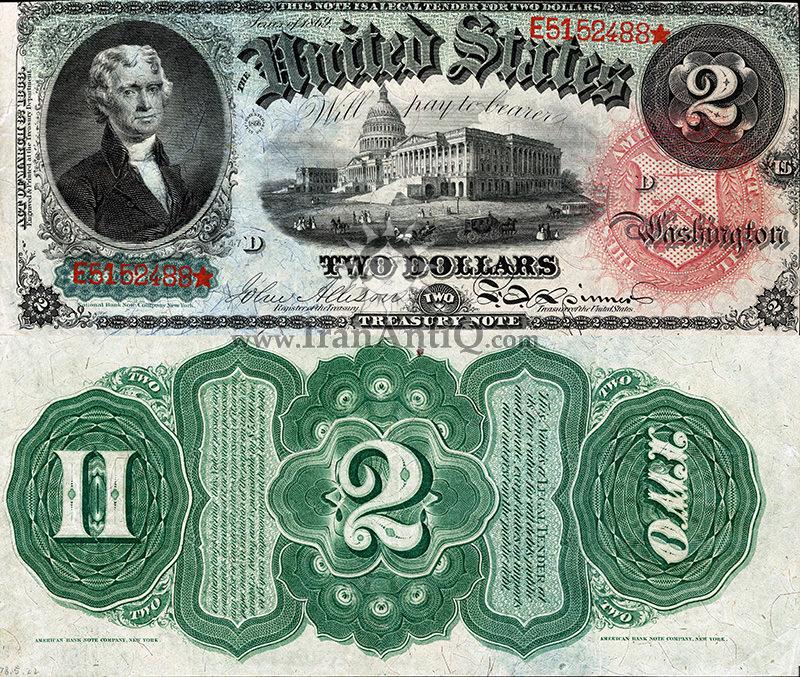 2 دلار سری رایج خزانه داری - توماس جفرسون