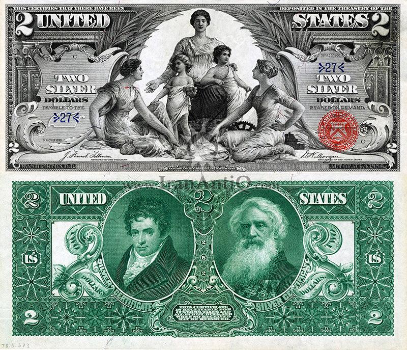 2 دلار گواهی نقره - رابرت فولتون و ساموئل مورس
