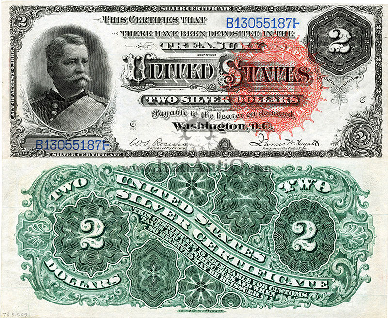 2 دلار سری گواهی نقره - وینفیلد اسکات هنکاک