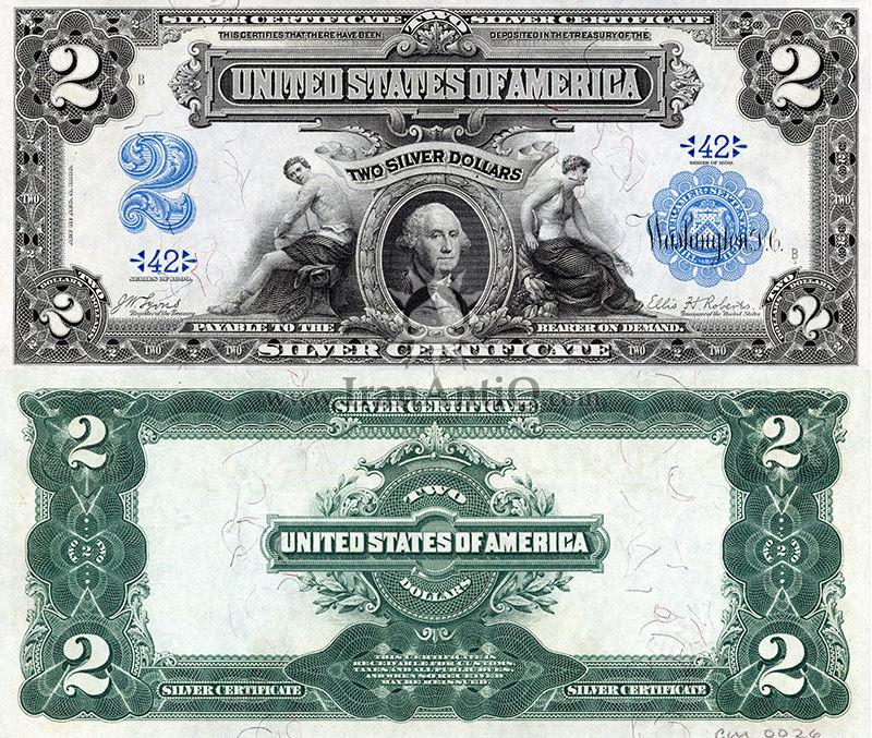 2 دلار سری گواهی نقره - جورج واشنگتن