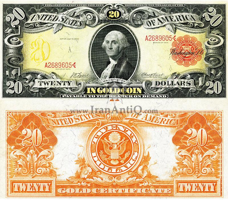 20 دلار سری گواهی طلا - جورج واشنگتن