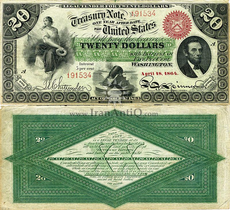 20 دلار سری بهره دار رایج خزانه داری - آبراهام لینکلن