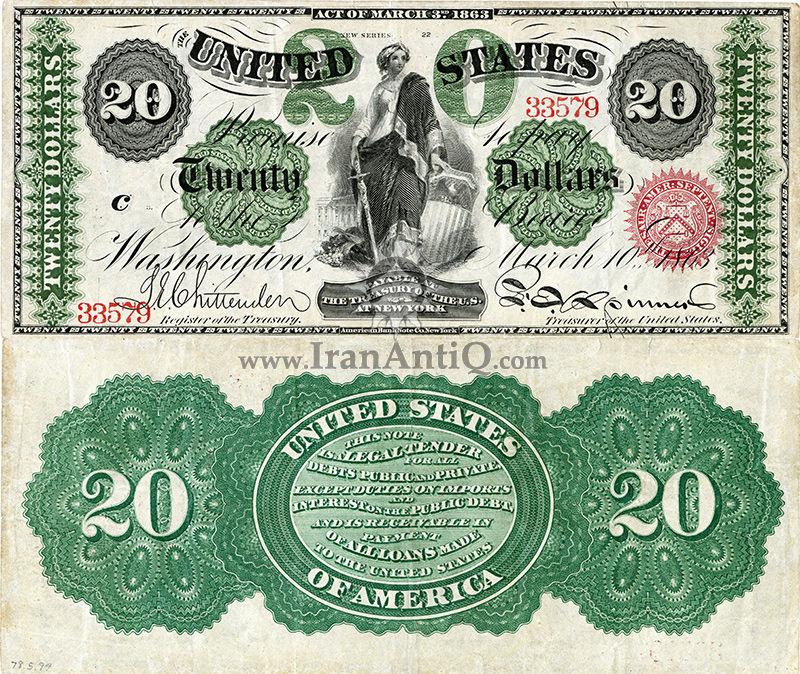 20 دلار سری رایج - نماد آزادی