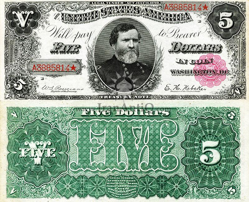 5 دلار سری رایج خزانه داری - جورج توماس