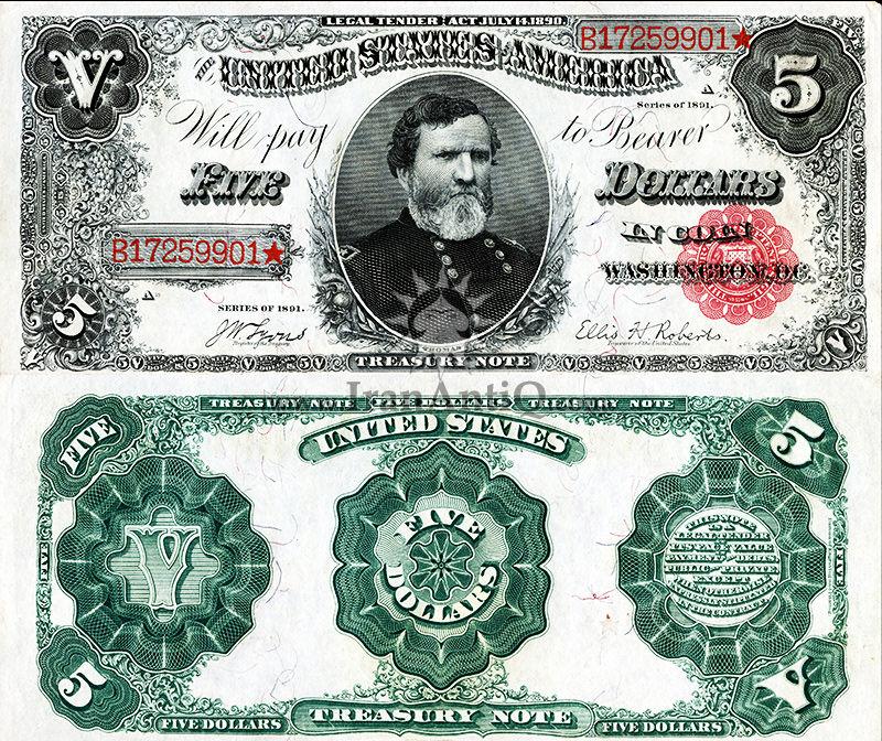 5 دلار سری رایج خزانه داری - جورج توماس - تیپ دو