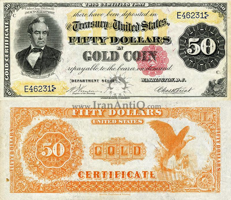50 دلار سری گواهی طلا - سیلاس رایت