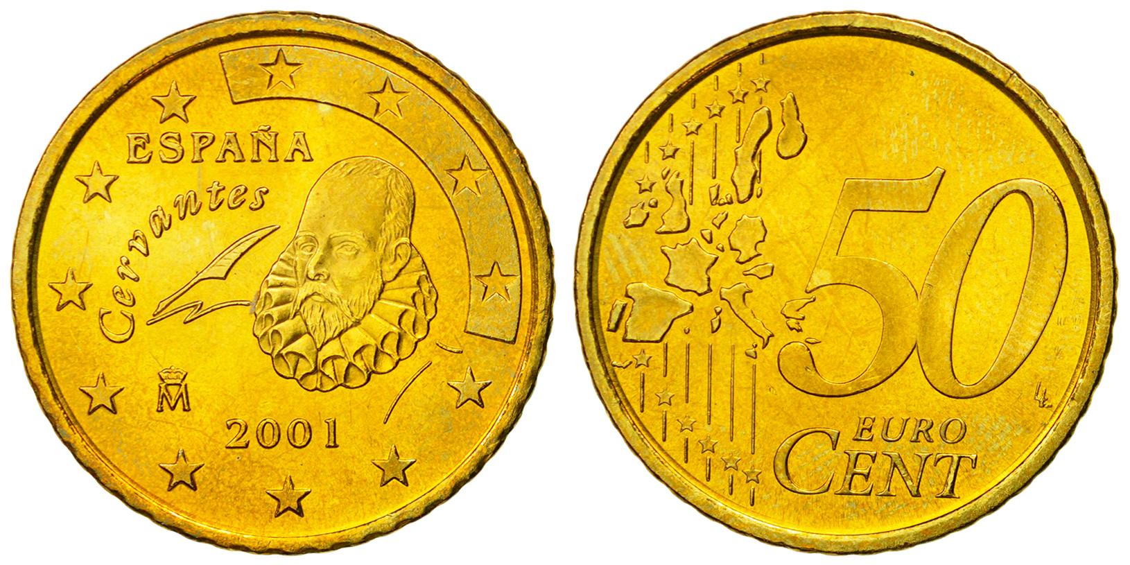50 یورو سنت خوان کارلوس یکم - میگل د سروانتس