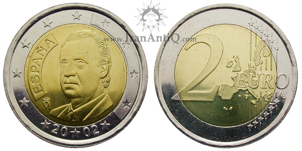 2 یورو خوان کارلوس یکم - نیم تنه خوان کارلوس