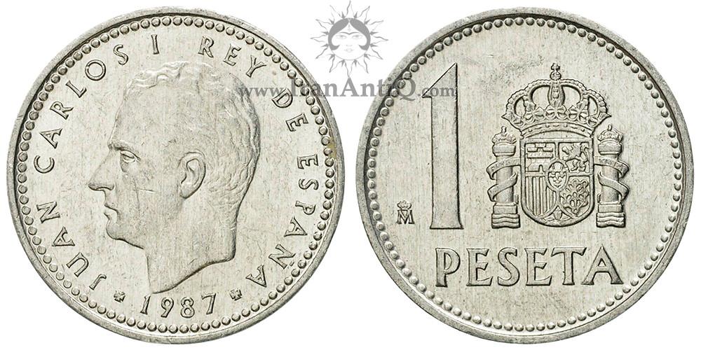 1 پزتا خوان کارلوس یکم - نشان سلطنتی کوچک