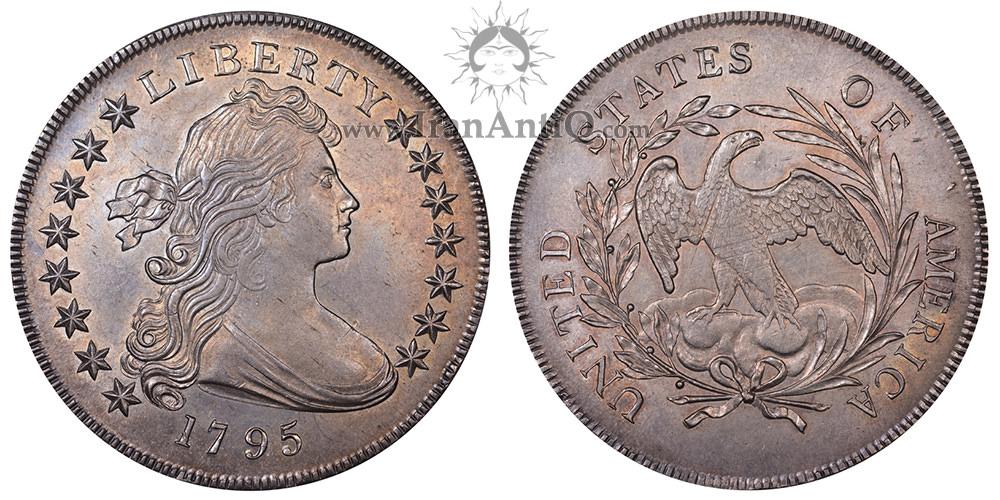 سکه یک دلار نیم تنه - عقاب کوچک - Draped Bust One Dollar - Small eagle