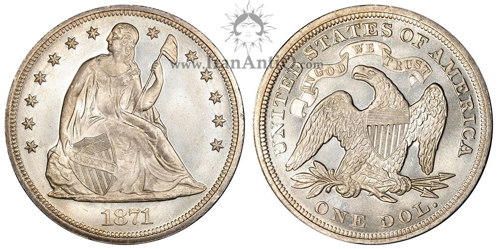 سکه یک دلار نماد آزادی نشسته - تراست - Seated Liberty One Dollar - In God We Trust