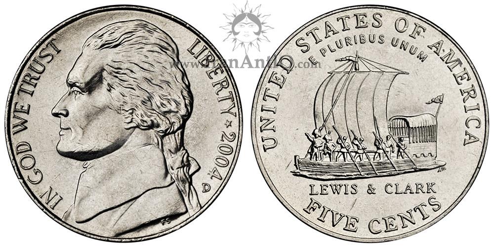 سکه پنج سنت جفرسون - یادبود توسعه غرب - تصویر پشت سکه : قایق لوئیس و کلارک