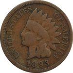 سکه 1 سنت 1893 سرخپوستی - VF30 - آمریکا