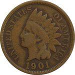 سکه 1 سنت 1901 سرخپوستی - EF40 - آمریکا