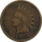 سکه 1 سنت 1901 سرخپوستی - VF35 - آمریکا