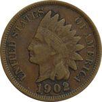 سکه 1 سنت 1902 سرخپوستی - EF40 - آمریکا