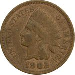 سکه 1 سنت 1902 سرخپوستی - VF35 - آمریکا