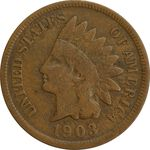 سکه 1 سنت 1903 سرخپوستی - EF40 - آمریکا