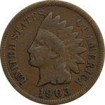سکه 1 سنت 1903 سرخپوستی - VF30 - آمریکا