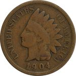سکه 1 سنت 1904 سرخپوستی - VF30 - آمریکا