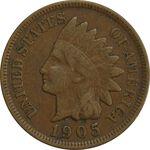 سکه 1 سنت 1905 سرخپوستی - EF40 - آمریکا