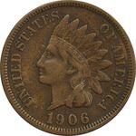 سکه 1 سنت 1906 سرخپوستی - EF45 - آمریکا