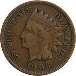 سکه 1 سنت 1906 سرخپوستی - EF40 - آمریکا