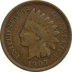 سکه 1 سنت 1907 سرخپوستی - EF40 - آمریکا