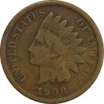 سکه 1 سنت 1908 سرخپوستی - VF30 - آمریکا