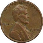 سکه 1 سنت 1960D لینکلن - EF45 - آمریکا